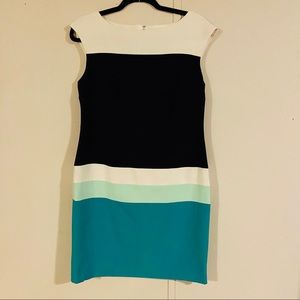 Sandra Darren Colorblock Fitted Sleeveless Dress